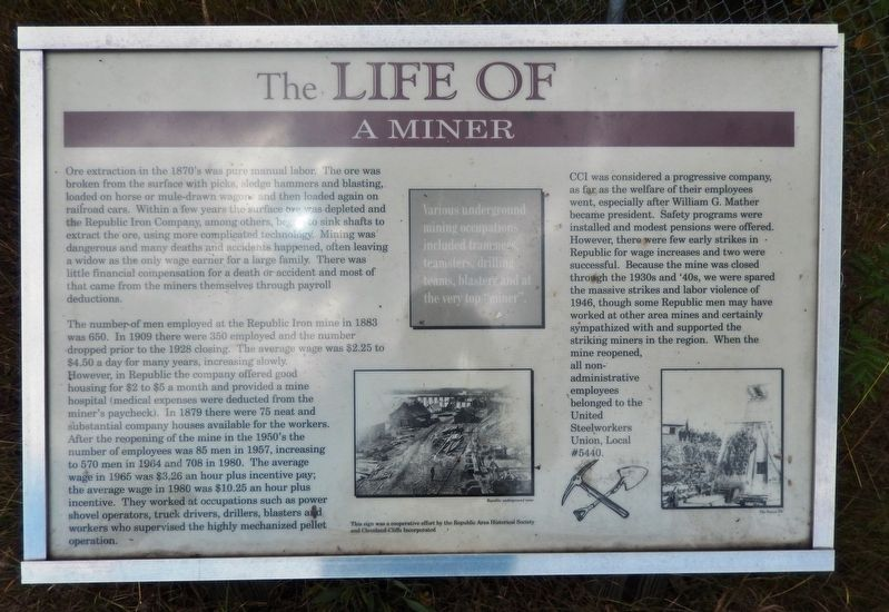 The Life of a Miner Marker image. Click for full size.