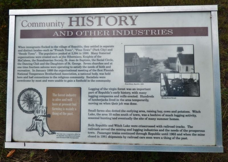 Community History and Other Industries Marker image. Click for full size.