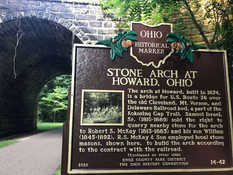 Stone Arch at Howard Ohio Marker, side one image. Click for full size.