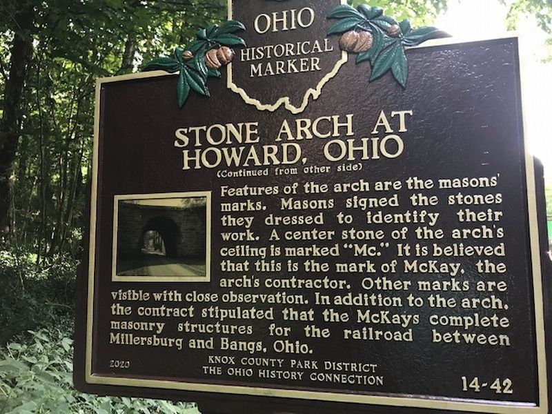 Stone Arch at Howard Ohio Marker, side two image. Click for full size.