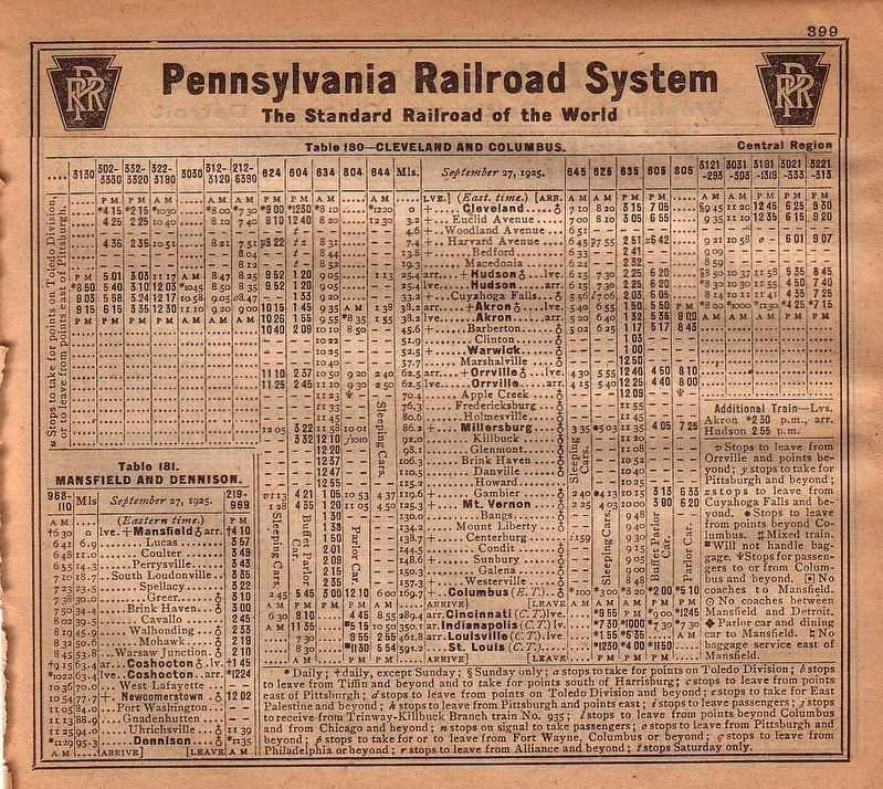 1925 Pennsylvania Railroad Timetable image. Click for full size.