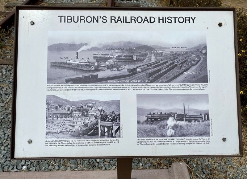 Tiburon's Railroad History Marker image. Click for full size.