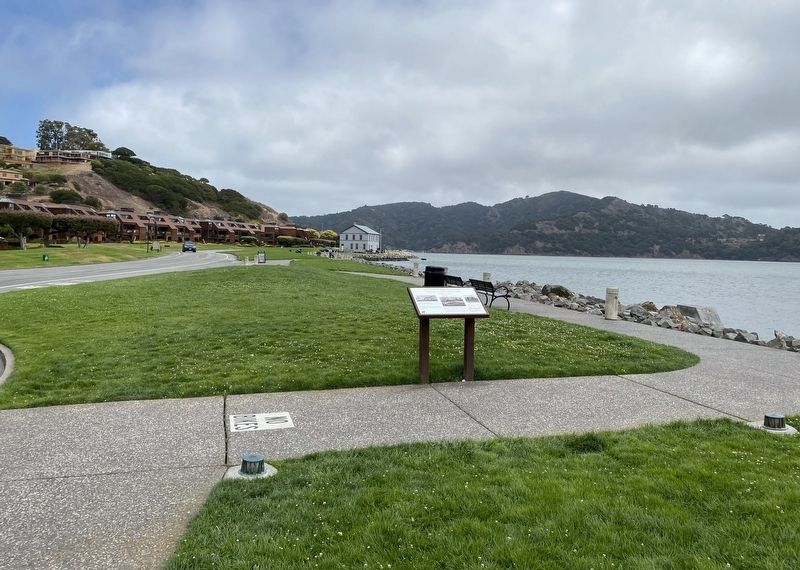 Tiburon Was a Railroad Town Marker - wide view image. Click for full size.