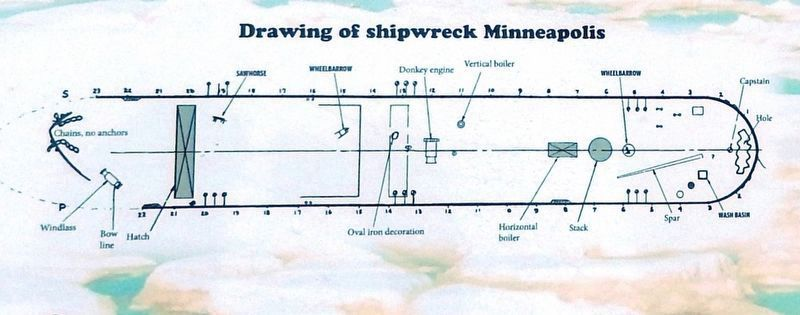 Marker detail: Drawing of <i>Minneapolis</i> Shipwreck image. Click for full size.