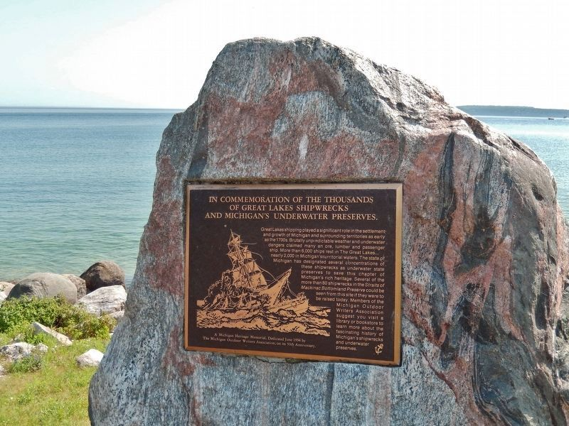 Great Lakes Shipwrecks and Michigan's Underwater Preserves Marker image. Click for full size.