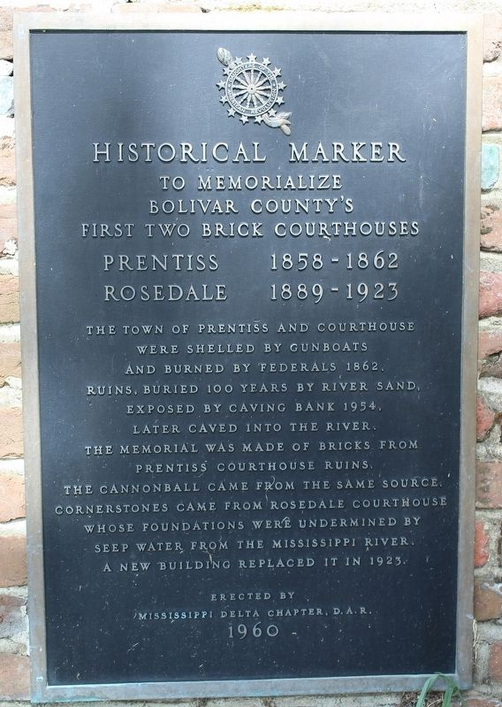 Historical Marker to Memorialize Bolivar County's First Two Brick Courthouses Marker image. Click for full size.