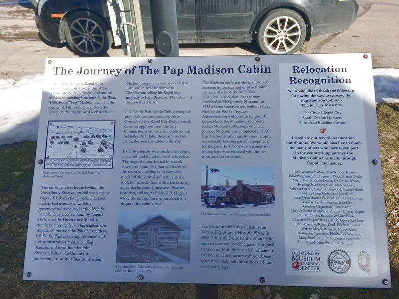 The Journey of The Pap Madison Cabin Marker image. Click for full size.
