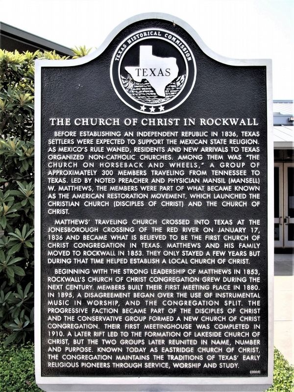 The Church of Christ in Rockwall Marker image. Click for full size.