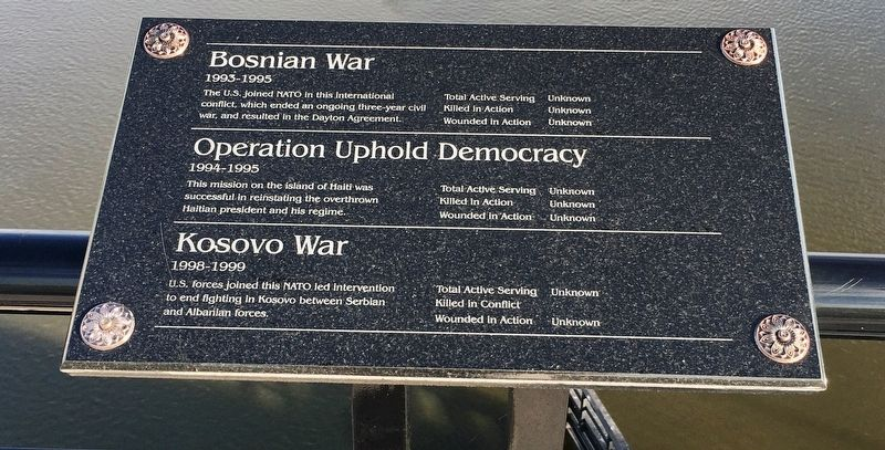 Bosnian War/Operation Uphold Democracy/ Kosovo War Marker image. Click for full size.