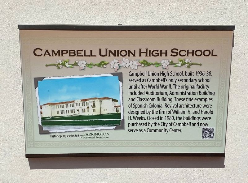 Campbell Union High School Marker image. Click for full size.