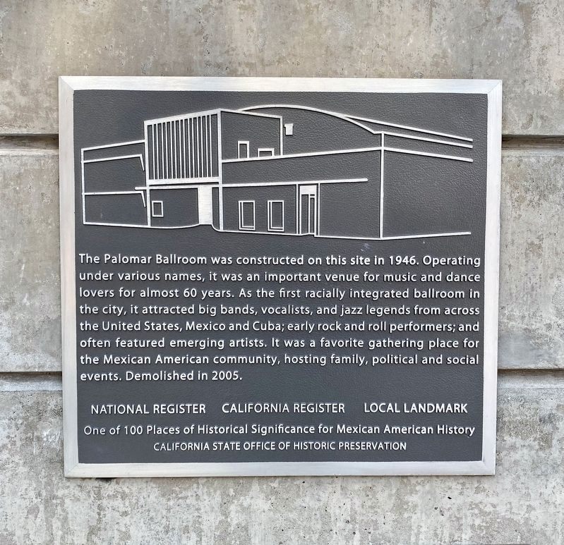 The Palomar Ballroom Marker image. Click for full size.