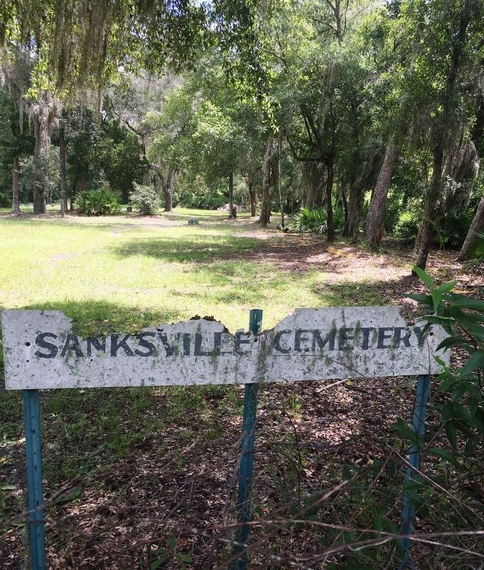 Sanksville Cemetery sign image. Click for full size.