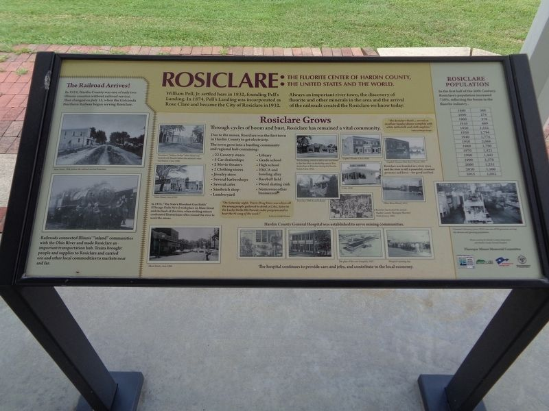 Rosiclare: The Fluorite Center of Hardin County, the United States and the World Marker image. Click for full size.