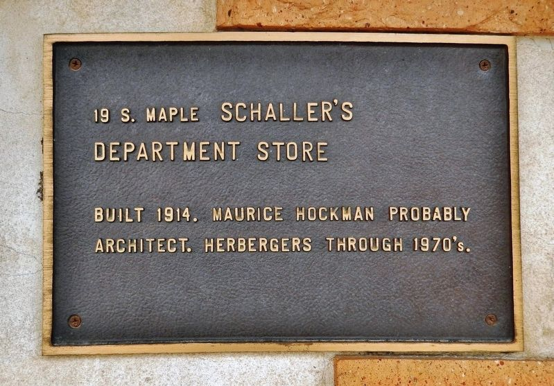 Schaller's Department Store Marker image. Click for full size.