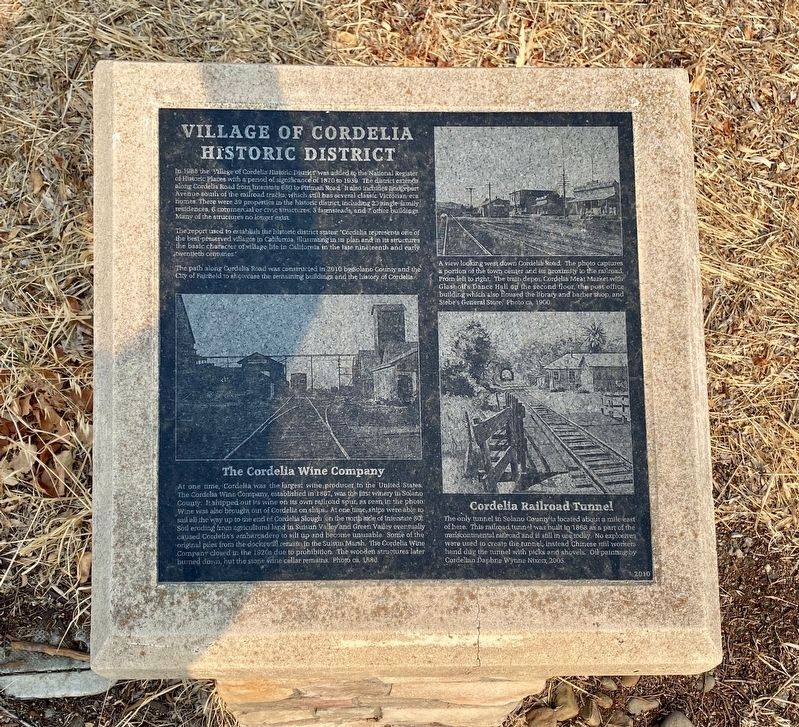 Village of Cordelia Historic District Marker image. Click for full size.