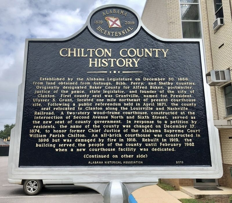 Chilton County History Marker (side 1) image. Click for full size.