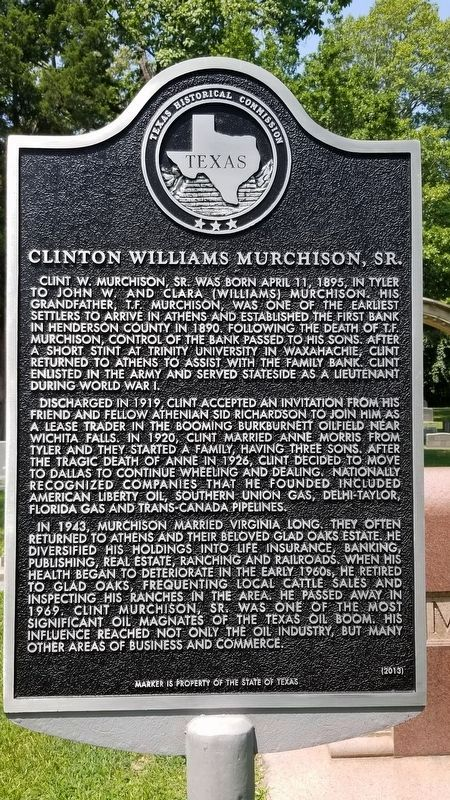 Clinton Willams Murchison, Sr. Marker image. Click for full size.
