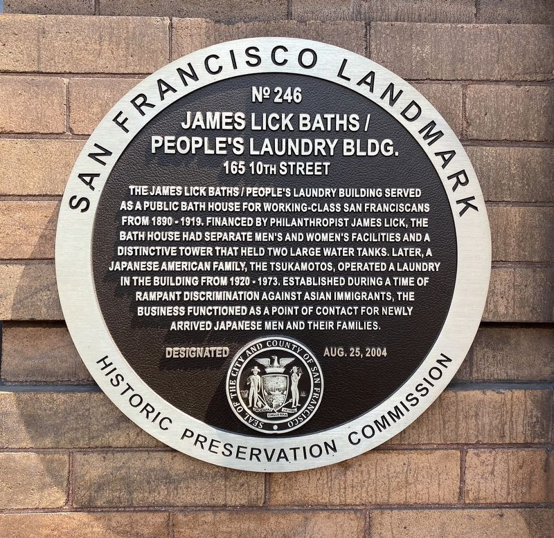 James Lick Baths / People's Laundry Bldg. Marker image. Click for full size.