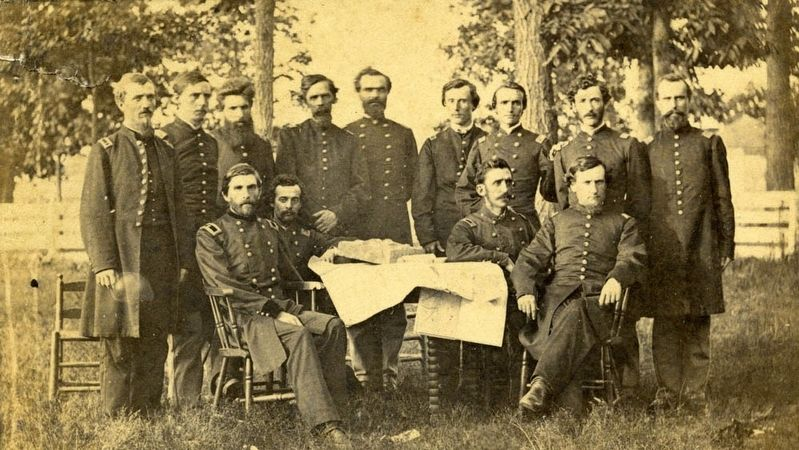 Gen. Grenville Dodge, U.S.A. and Staff image. Click for full size.
