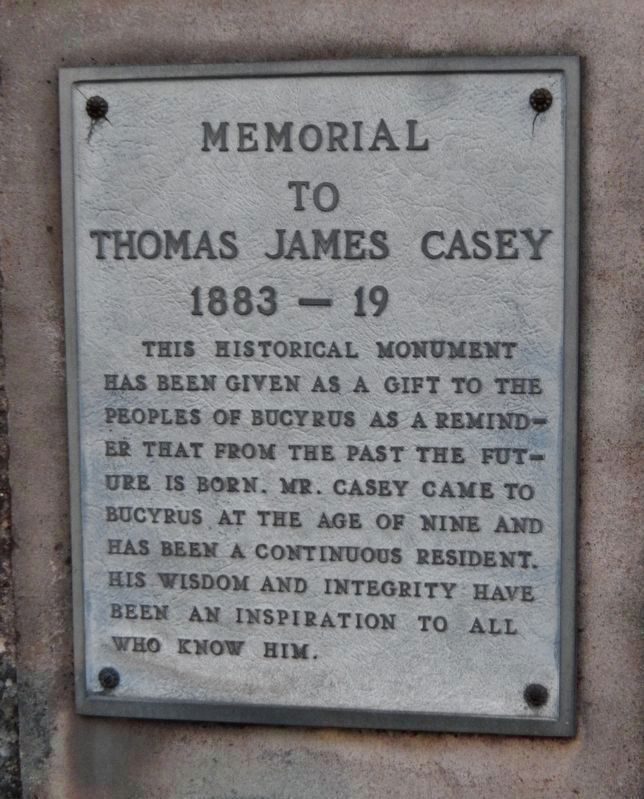 Thomas James Casey Memorial<br>(<i>mounted left of marker</i>) image. Click for full size.