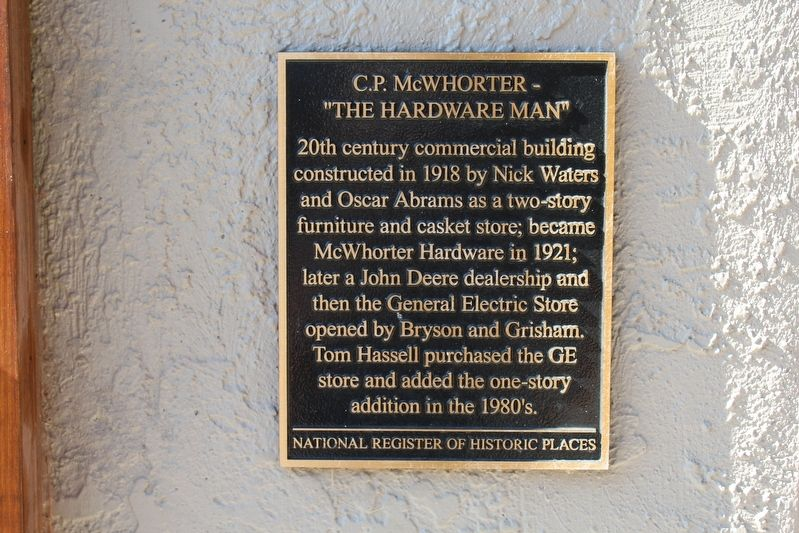 "C.P. McWhorter - ""The Hardware Man"" Marker image. Click for full size."