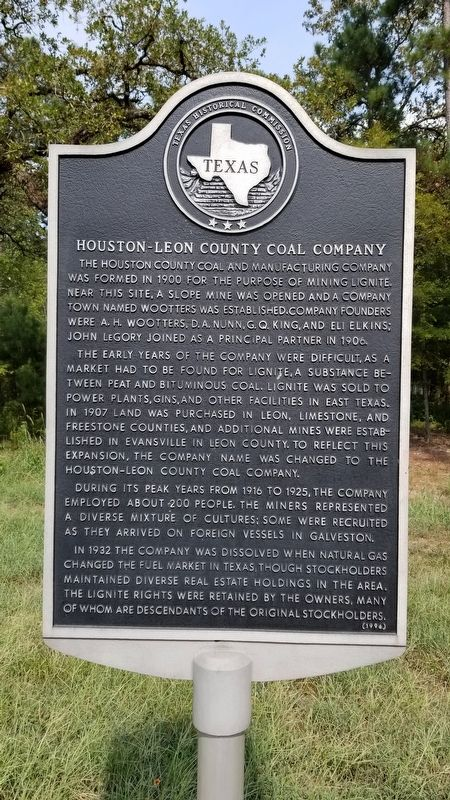Houston-Leon County Coal Company Marker image. Click for full size.