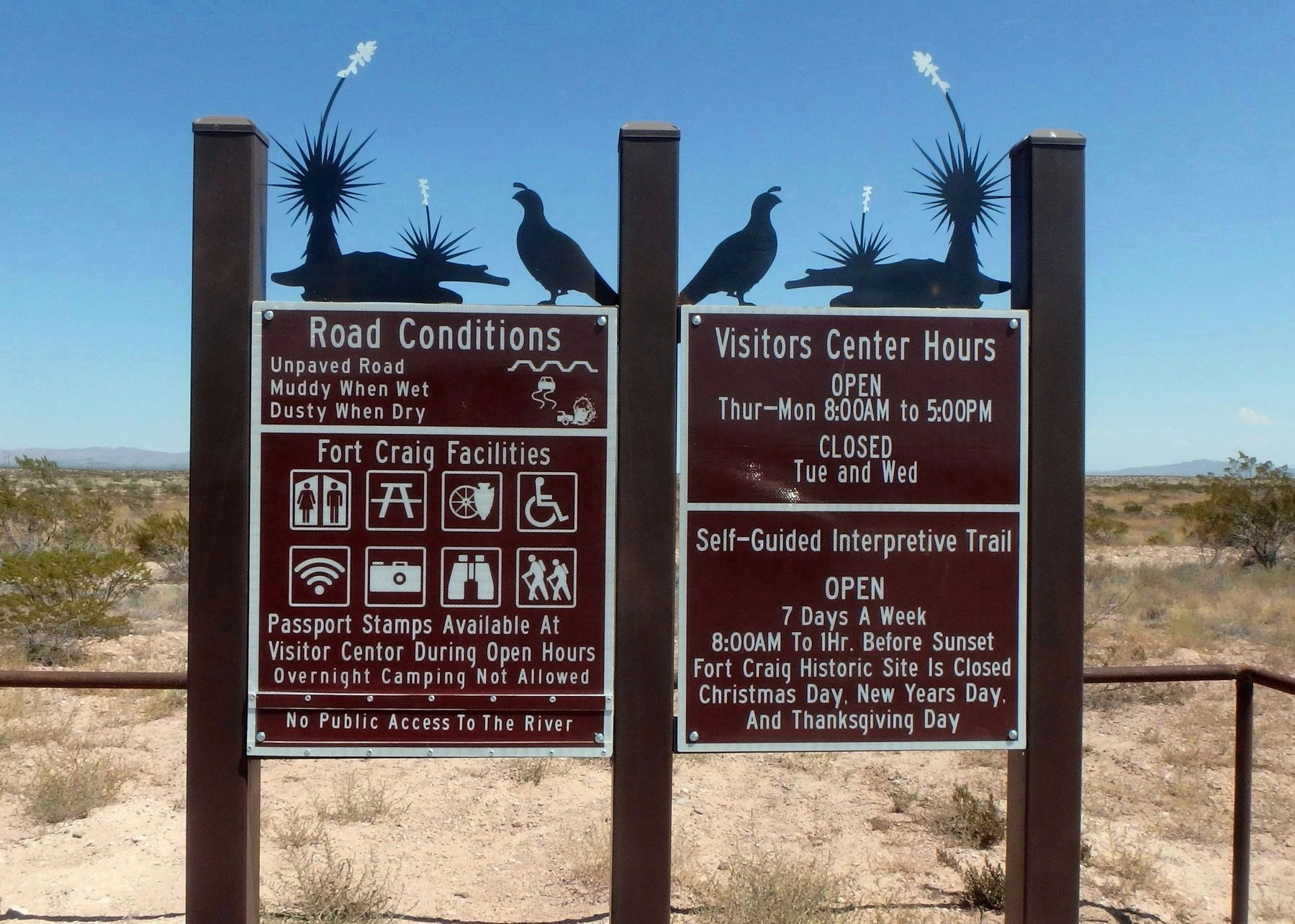 Additional Fort Craig signage on the road to the site image. Click for full size.