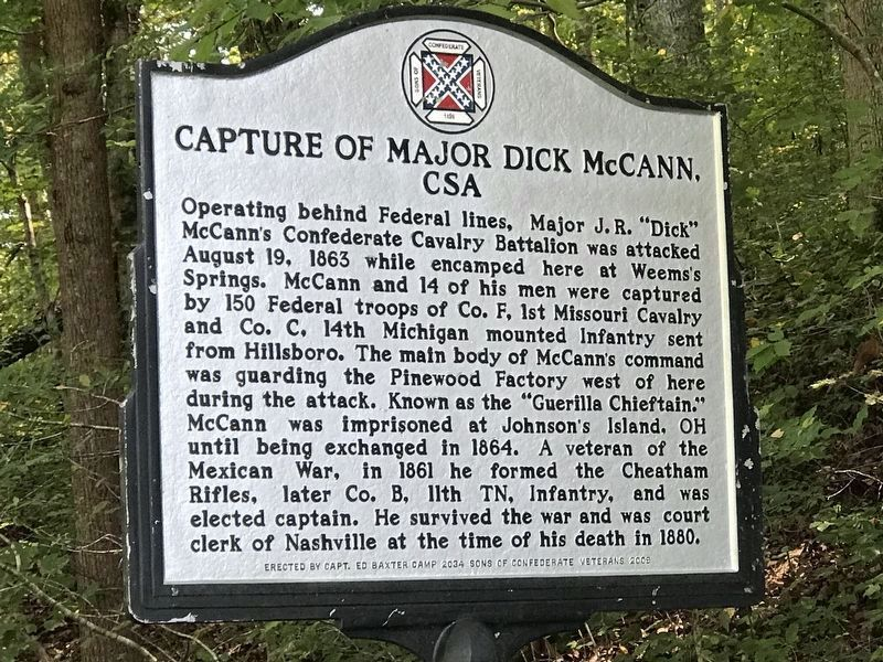 Capture of Major Dick McCann, CSA Marker (side 2) image. Click for full size.