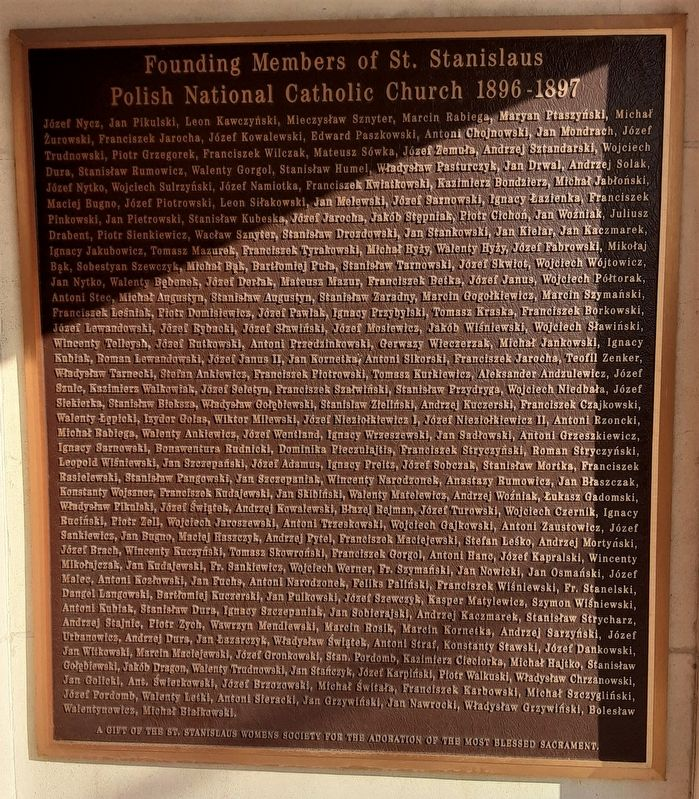 Founding Members of St. Stanislaus Polish National Catholic Church Marker image. Click for full size.