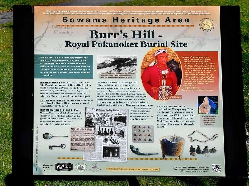 Burr's Hill - Royal Pokanoket Burial Site Marker image. Click for full size.