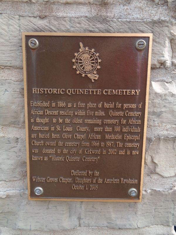 Historic Quinette Cemetery Marker image. Click for full size.