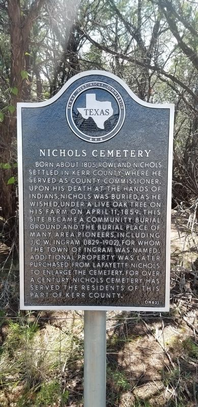 Nichols Cemetery Marker image. Click for full size.