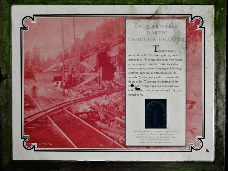 Twin Tunnels Bored Through Granite Marker image. Click for full size.