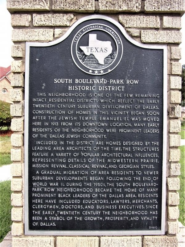 South Boulevard-Park Row Historic District Marker image. Click for full size.