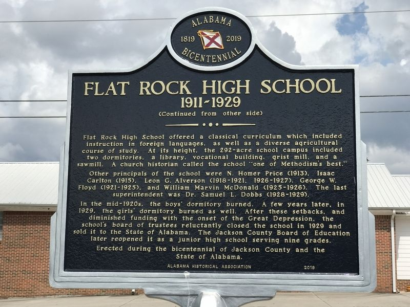 Flat Rock High School Marker image. Click for full size.