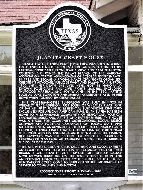 Juanita Craft House Marker image. Click for full size.