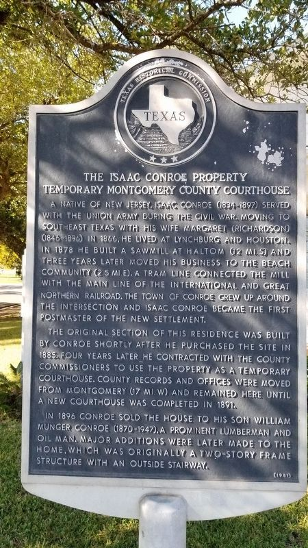 The Isaac Conroe Property Marker image. Click for full size.