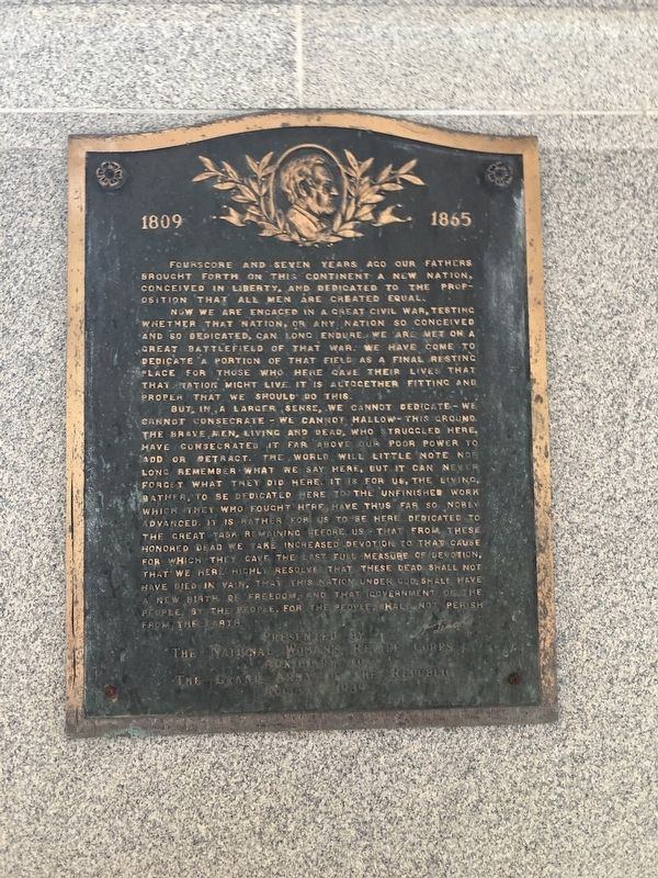 Gettysburg Address plaque image. Click for full size.