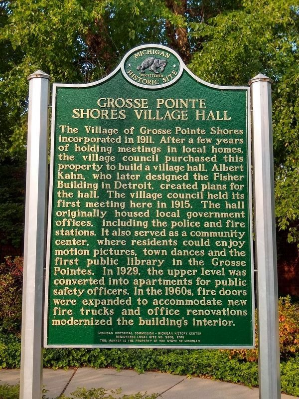 Grosse Pointe Shores Village Hall Marker - Side 1 image. Click for full size.