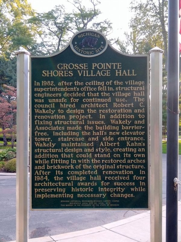 Grosse Pointe Shores Village Hall Marker - Side 2 image. Click for full size.