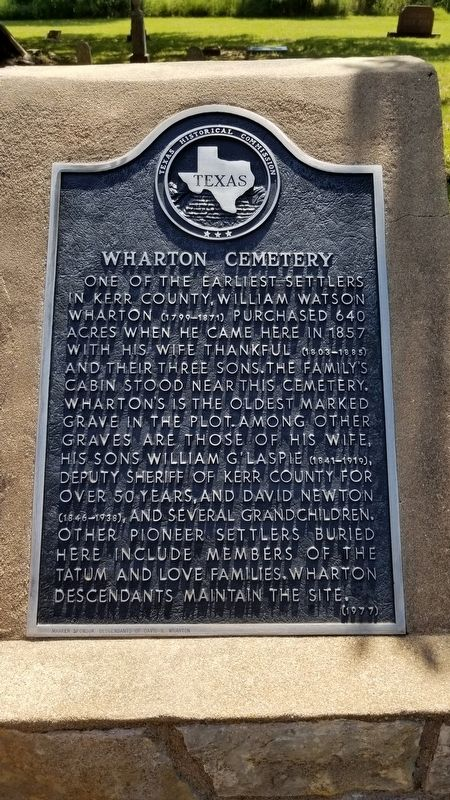 Wharton Cemetery Marker image. Click for full size.