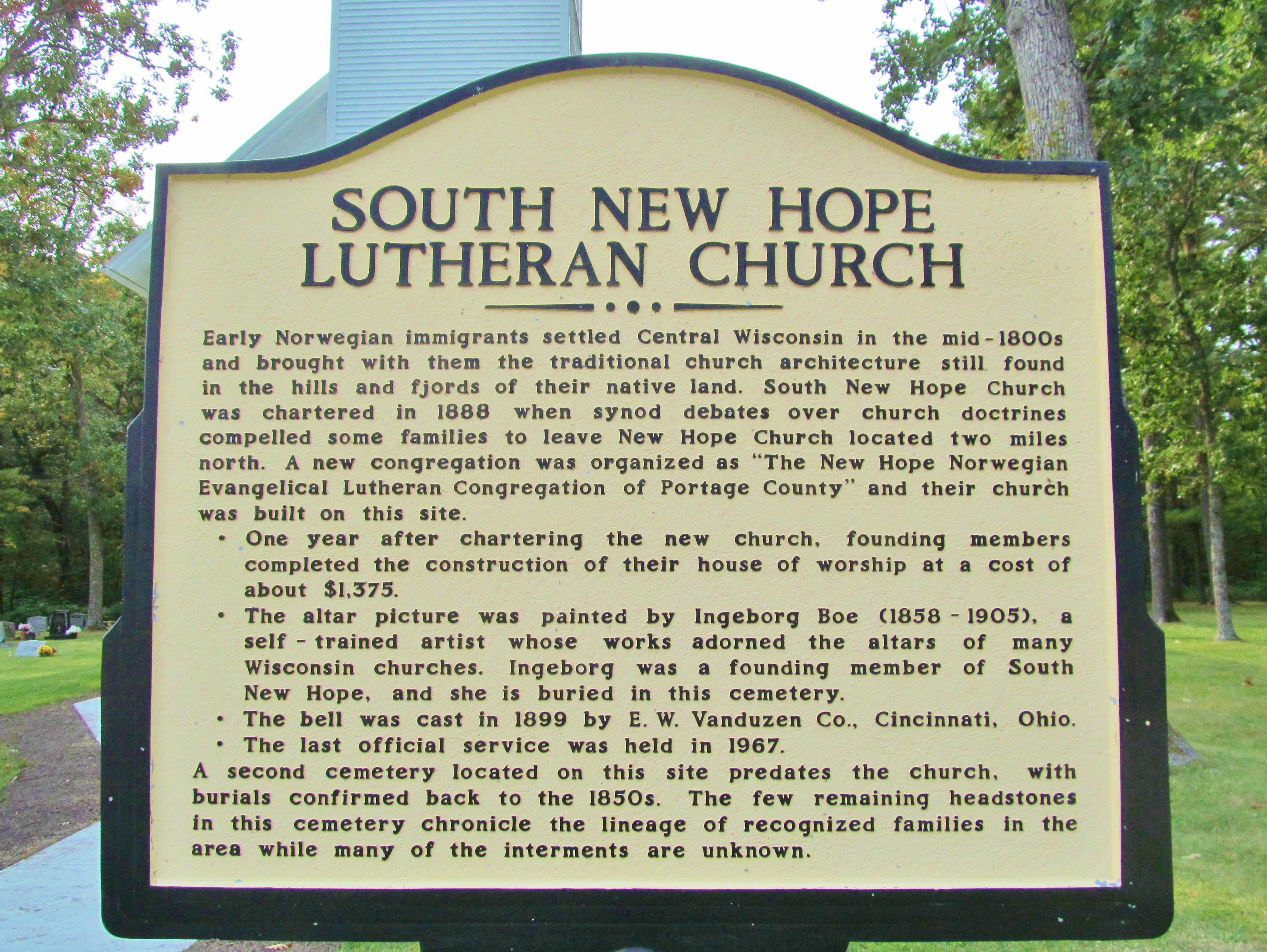 South New Hope Lutheran Church Marker
