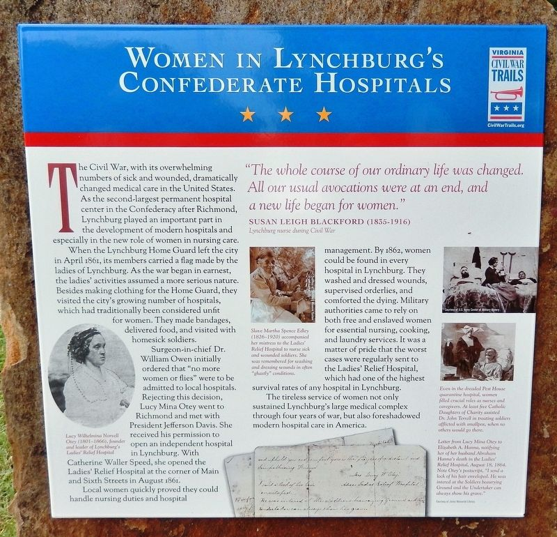 Women of Lynchburg's Confederate Hospitals Marker image. Click for full size.