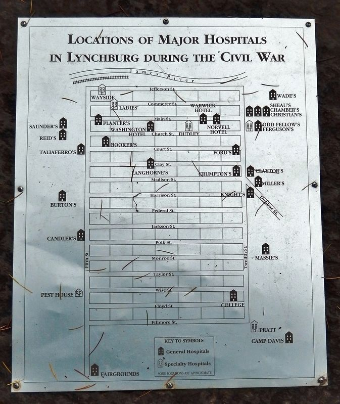 Locations of Major Hospitals in Lynchburg During the Civil War image. Click for full size.