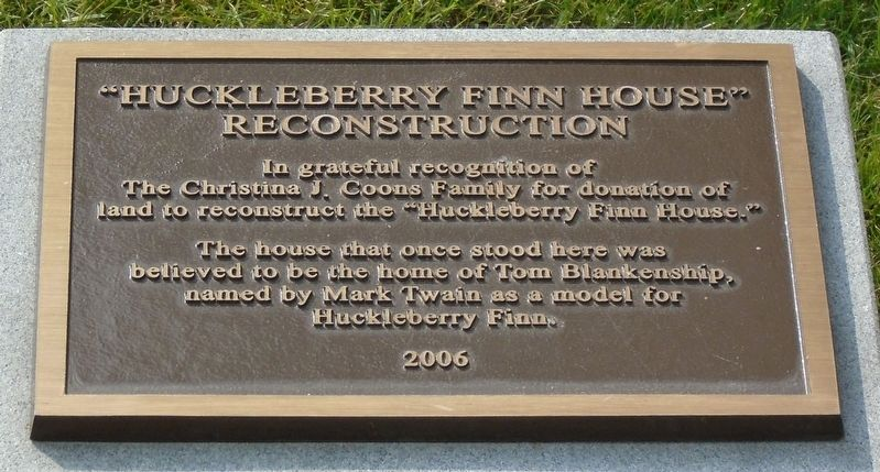 """Huckleberry Finn House"" Reconstruction Marker image. Click for full size."