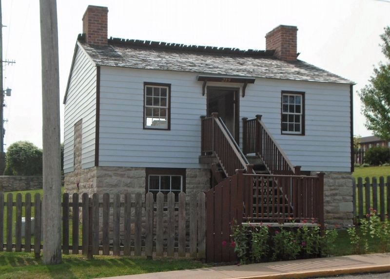 """Huckleberry Finn House"" Reconstruction and Marker image. Click for full size."