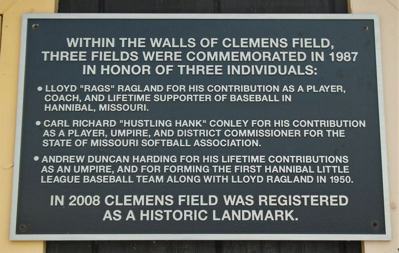 Clemens Field Commemoration Marker image. Click for full size.