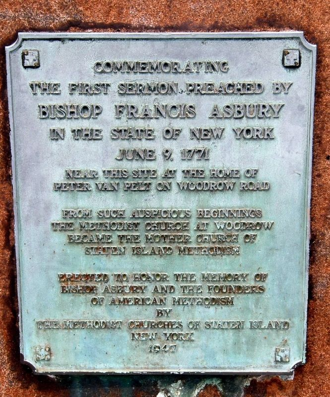 Bishop Francis Asbury plaque image. Click for full size.