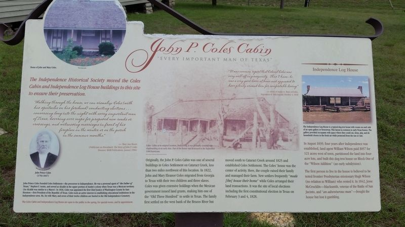 An additional John Prince Coles Cabin Marker image. Click for full size.