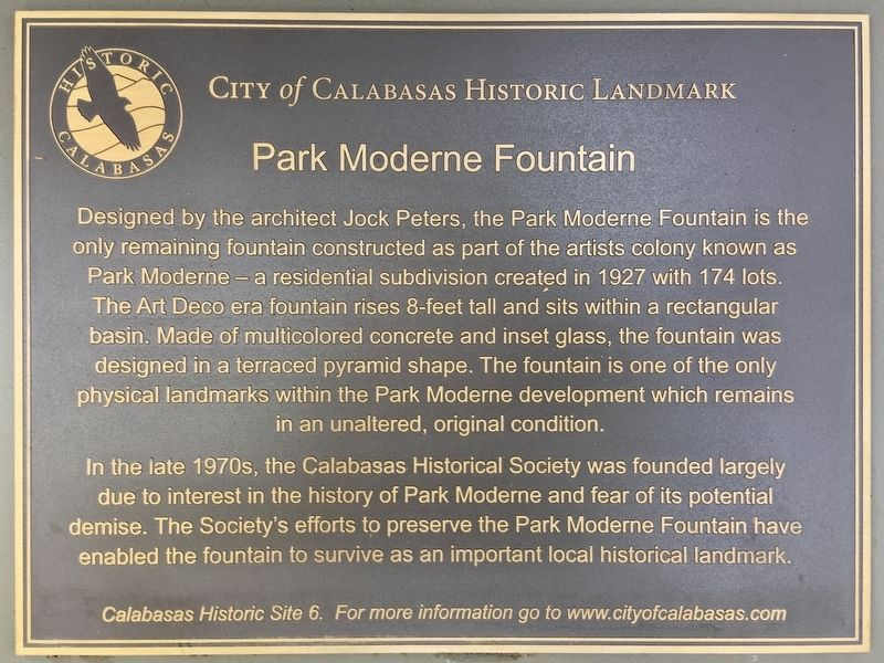 Park Moderne Fountain Marker image. Click for full size.